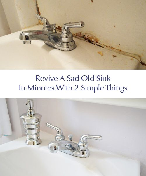 Such a great update to freshen a seen-better-days bathroom sink (caulk can  work miracles)
