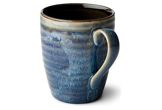 Glazed Stoneware Mug Blue Pottery Mugs Stoneware Mugs Mugs