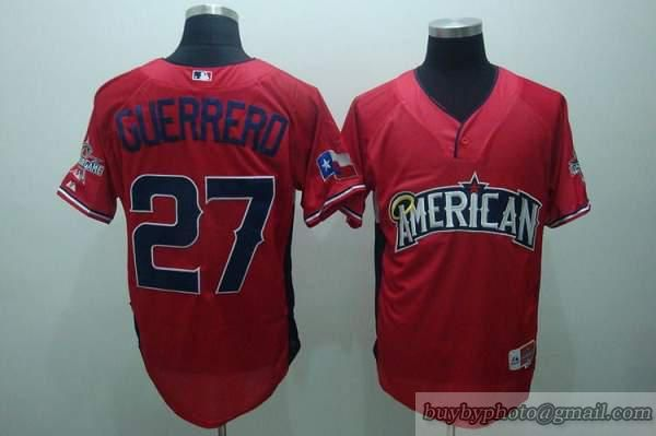 95a210a31 Angels of Anaheim  27 Vladimir Guerrero Red American League 2010 All Star BP  Embroidered MLB Jersey