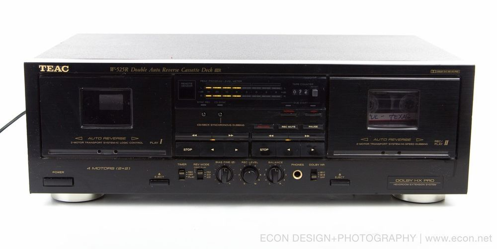 TEAC W-525R Dual Auto-Reverse Stereo Cassette Deck Dolby HX-Pro Tested EXCELLENT #TEAC