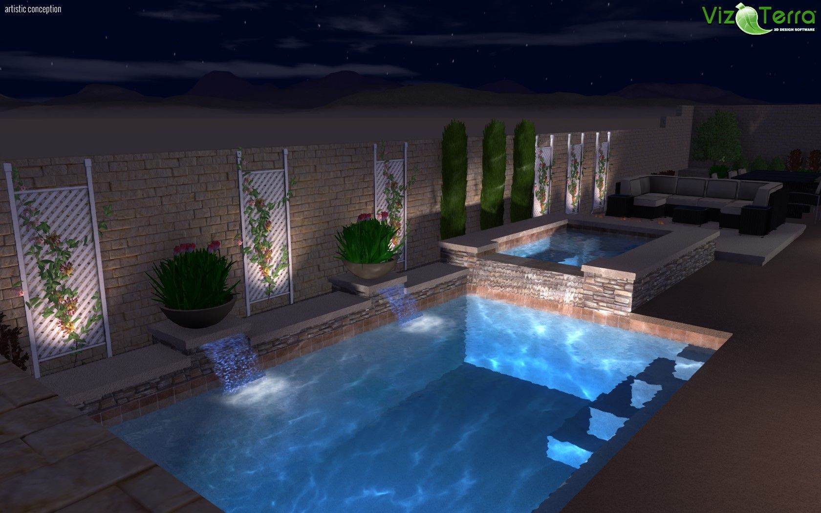 3d landscape and pool design nice back yard with pool spa