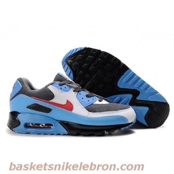 new styles c2fe4 d1269 Air Max Homme Nike Air Max 90 hommes gris   blanc   bleu ciel   Red Shoes  pour pas cher Pas cher