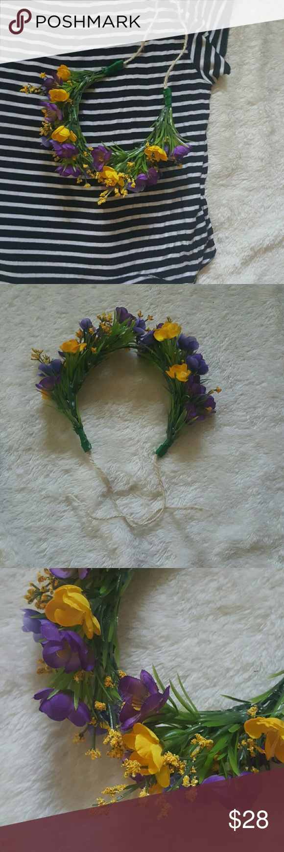 4th of july saleFlower crown Handmade by me, super cute flower crown! Has a wire headband & twine in the back so that it can be tied to fit anyone head! Colors are purple & yellow- an underestimated color combo that stands out! *NO TRADES  *smoke and pet free home  *not free people Free People Accessories Hair Accessories