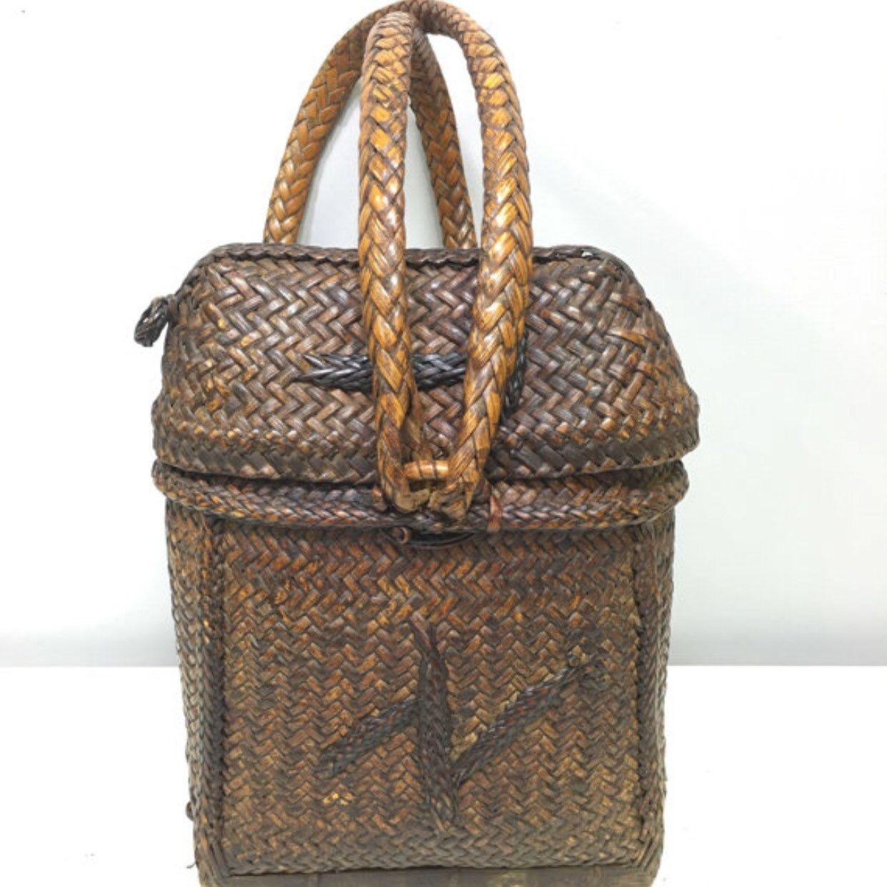 Handmade Philippines rattan backpack. Basket.