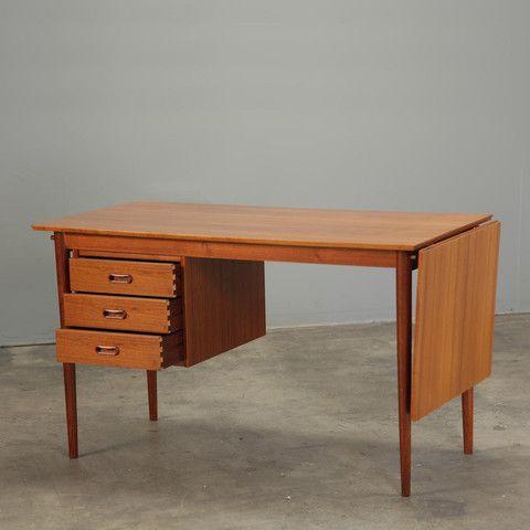 1960 S Danish Teak Desk By Arne Vodder Sliding Drop Leaf And