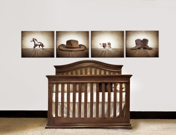 Four Canvases Ready To Hang Vintage Cowboy Themed Prints Wall Art Kids Room Nursery