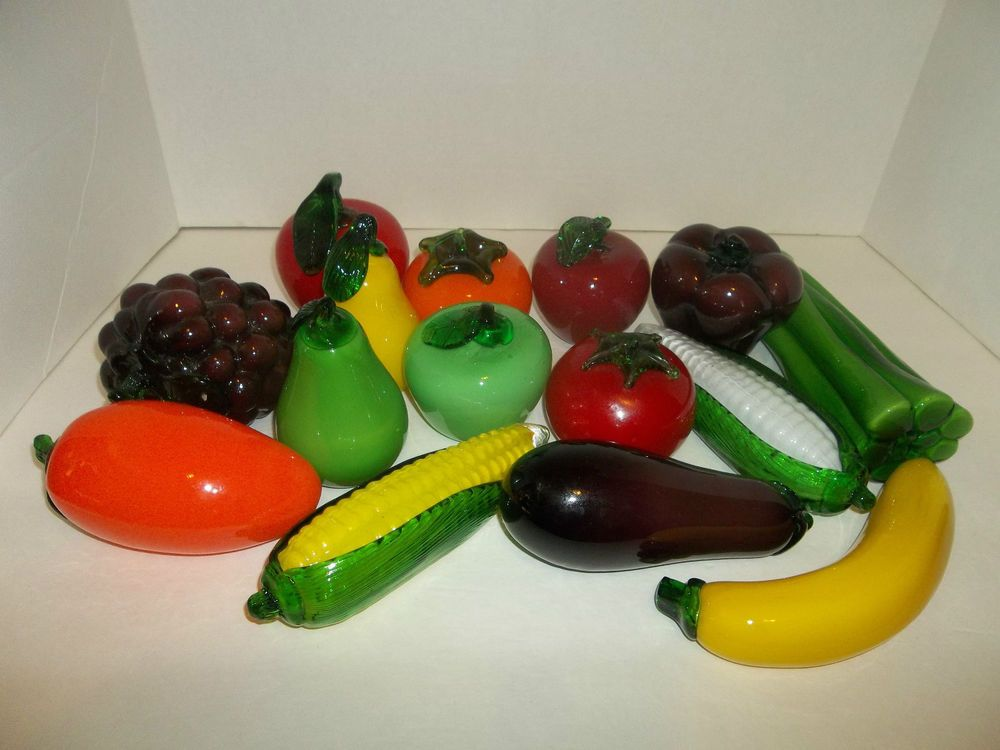 Vintage Murano Style Art Glass Fruit And Vegetable Figurines 15 Pieces Made 60s Glass Art Fruits And Vegetables Fruit