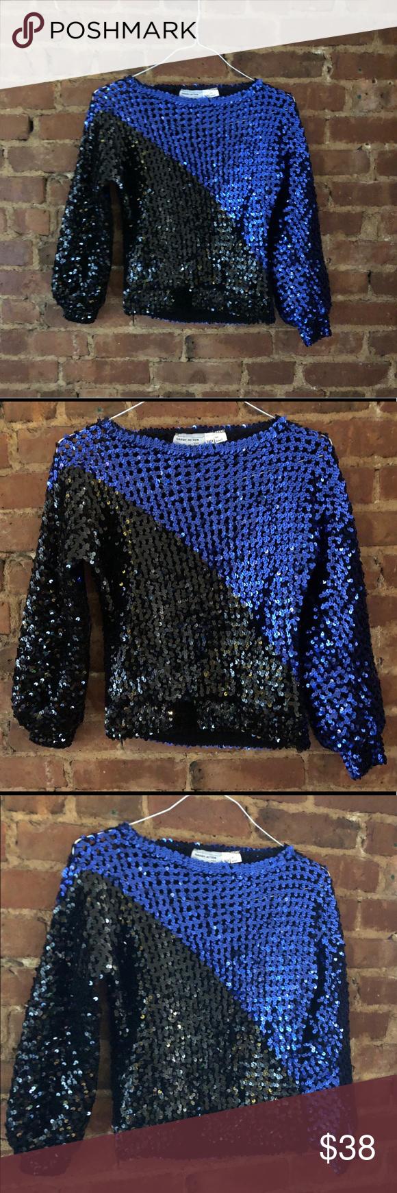 3a046e4d Vintage 80s Black & Blue Knit Sequin Party Top Vintage 80s Black & Blue All  Over