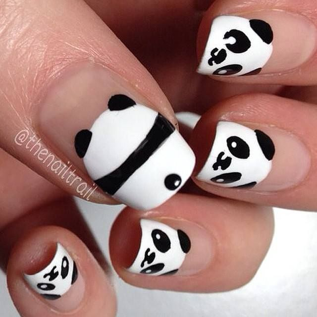Image via Panda nail art designs Image via How to Create Cute Panda Nail  Art Image via Panda nails! Image via Nail Art Water Decals Transfers  Sticker Lovely ... - Panda.... Base Blanca Y Barniz Negro... Nail Arts Pinterest