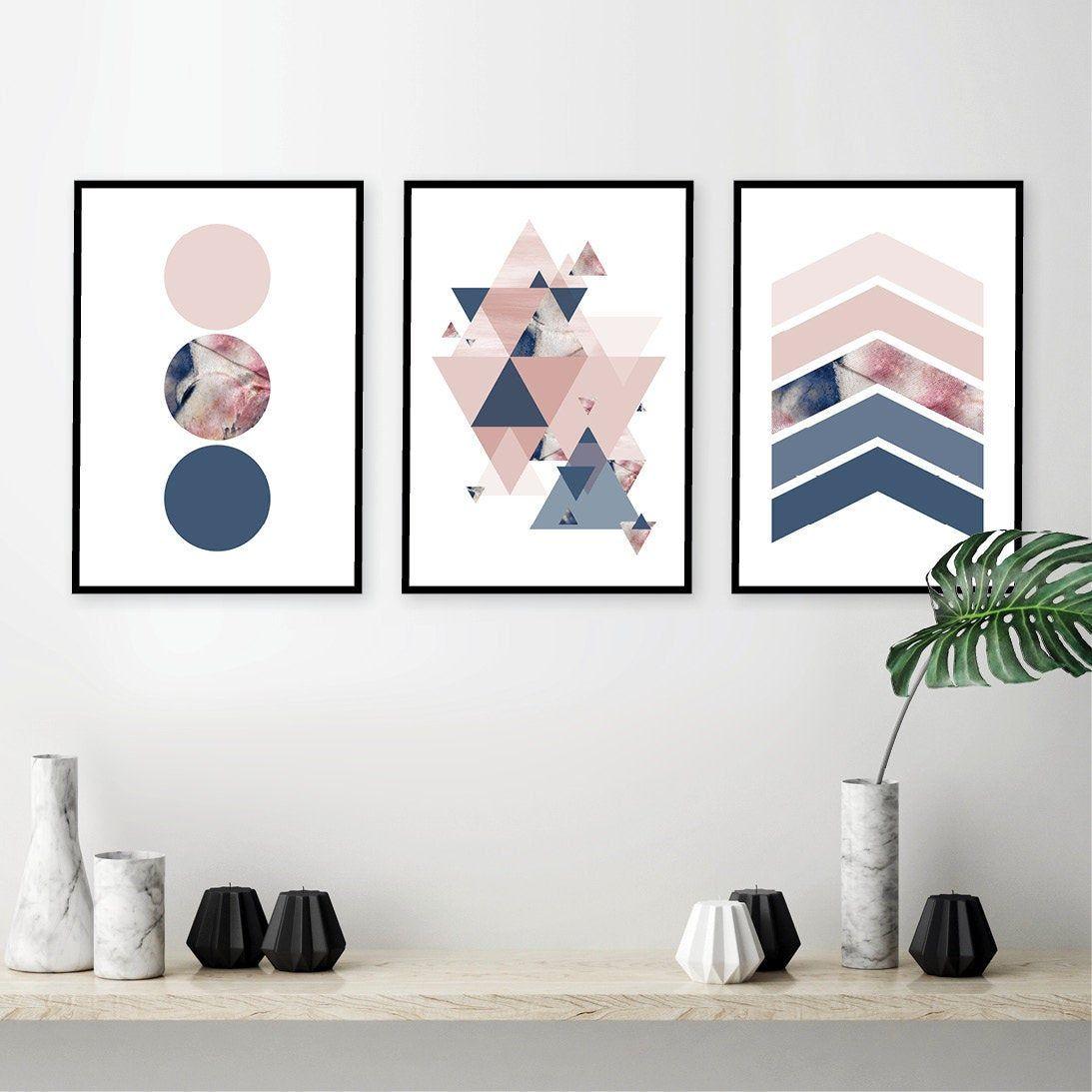 38 Small Yet Super Cozy Living Room Designs: Printable Art, Blush, Navy, Set Of 3, Geometric Navy Blush