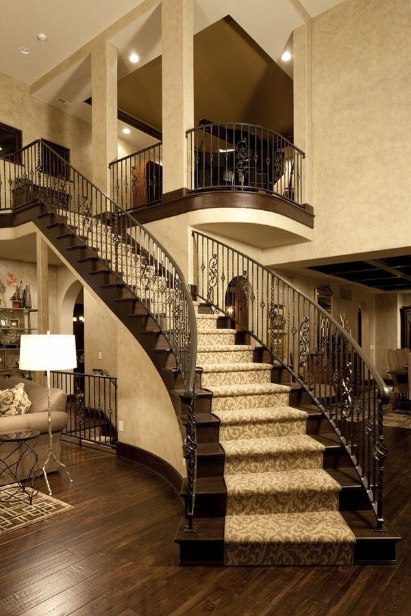 Staircase Decorating Stair Runners Ideas Dark Wood Treads Beige Carpet