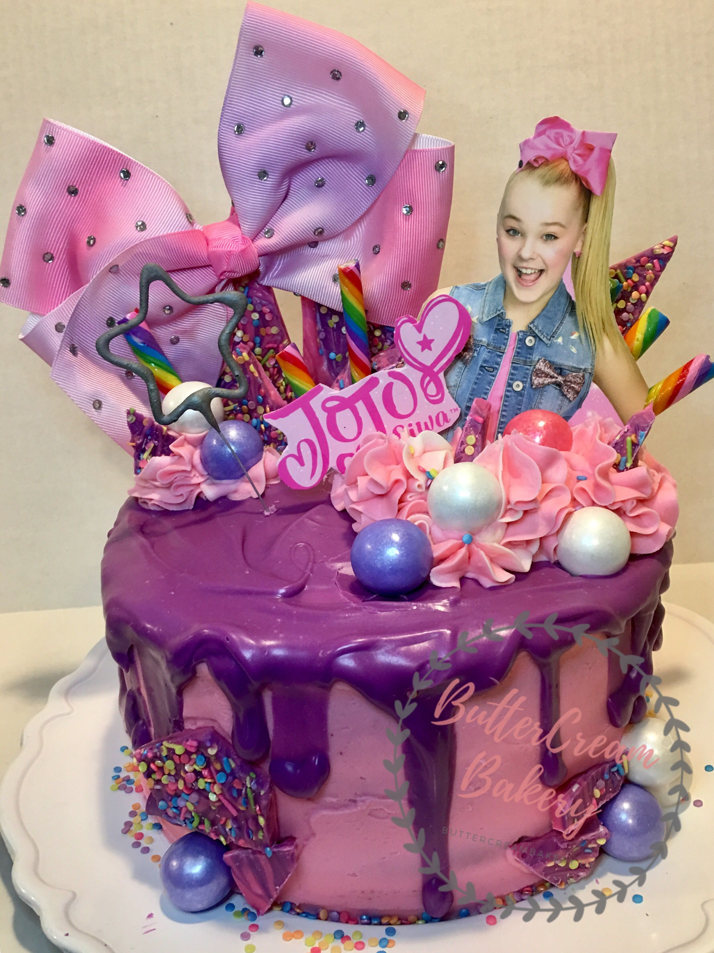 Jojo Siwa Ninth Birthdays Girls Drip Cake Sparklers Candy
