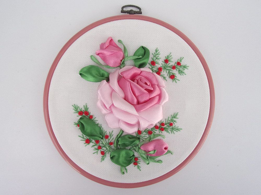 Ribbon Embroidery Hoop Art - Spring is Pink by myLITTLEbigBoutique on Etsy