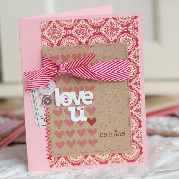 Love U be mine Handmade Valentines Day Greeting Card 650 – Hand Made Valentine Day Cards