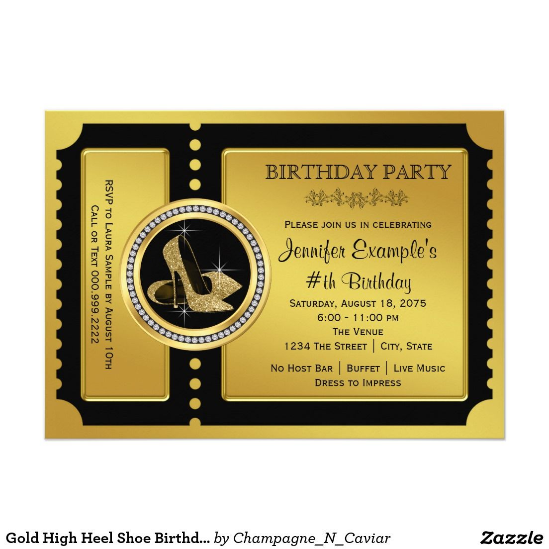 Gold High Heel Shoe Birthday Party Card | Birthdays and Party ...