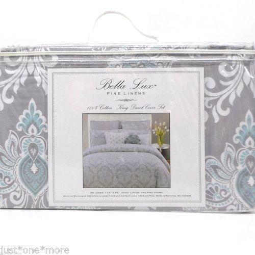 Gray Aqua Medallion King Duvet Cover, Bella Lux Fine Linens Bedding