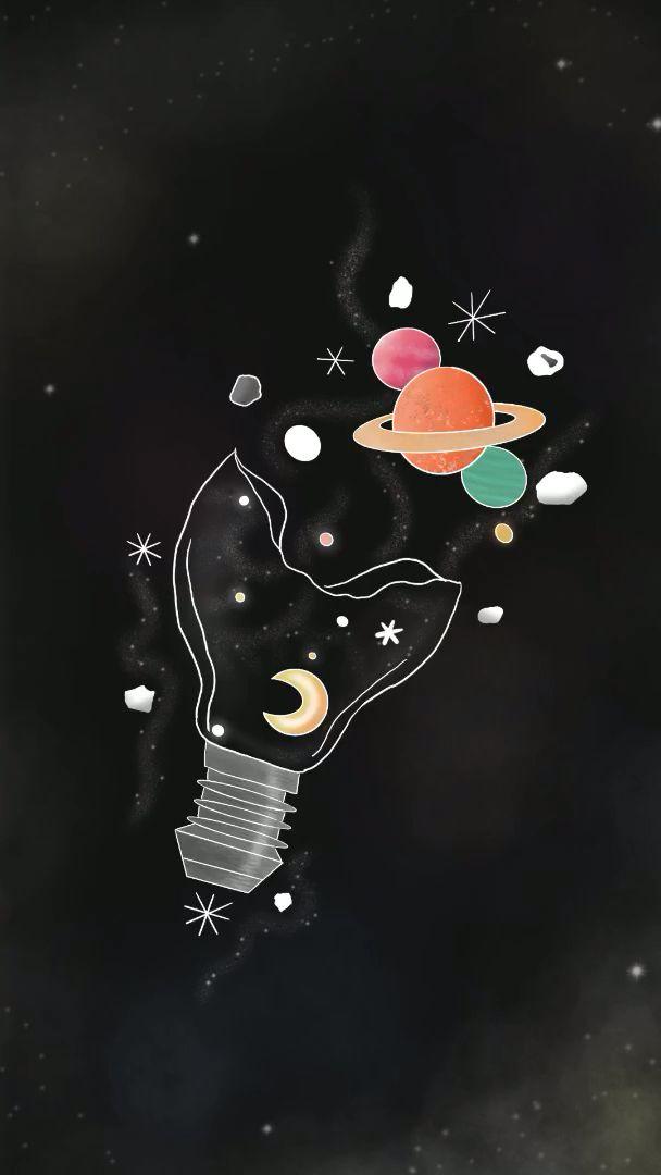 Creating light bulb solar system wallpaper