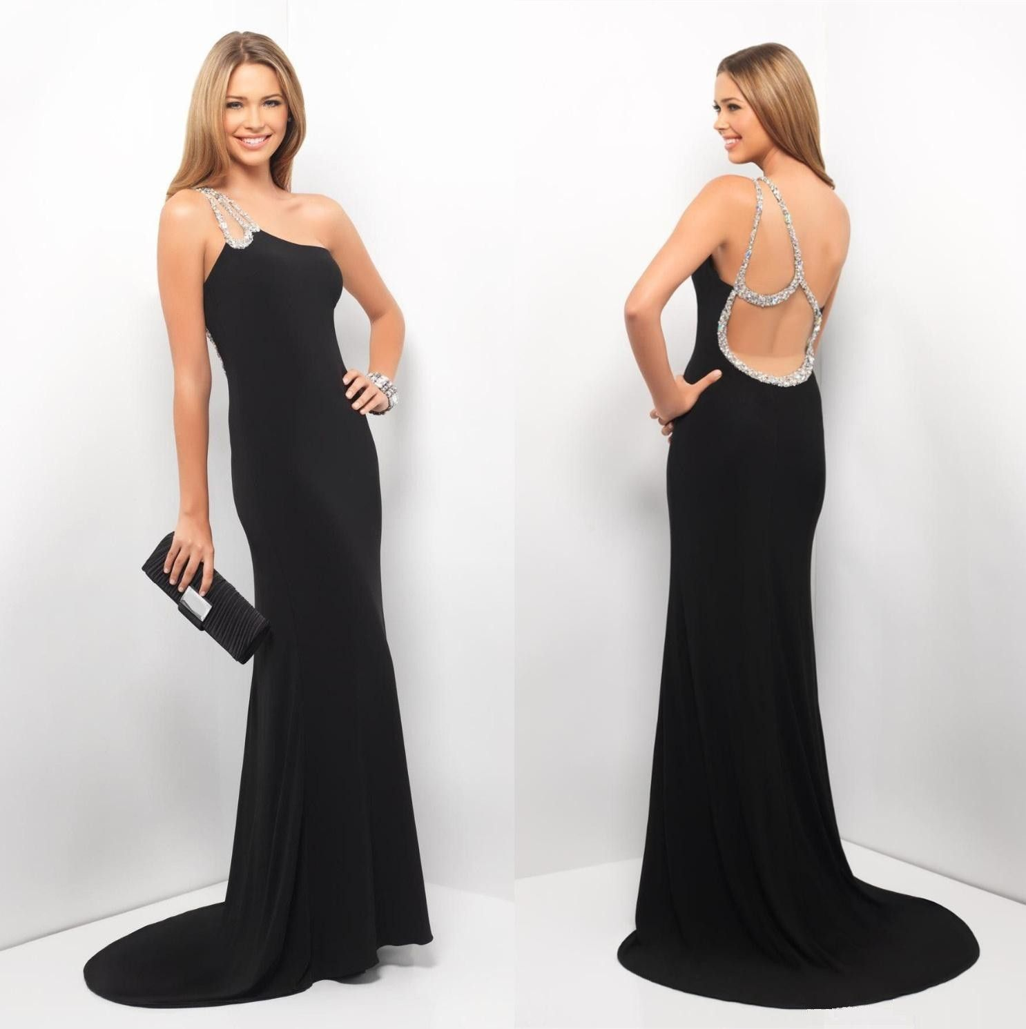 Black mermaid with simple floorlength court train prom dress