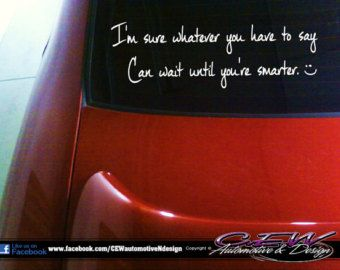 Funny Automotive Vinyl Humor Car Decal Vehicle Car Vinyl Letters - Car decal sticker girl