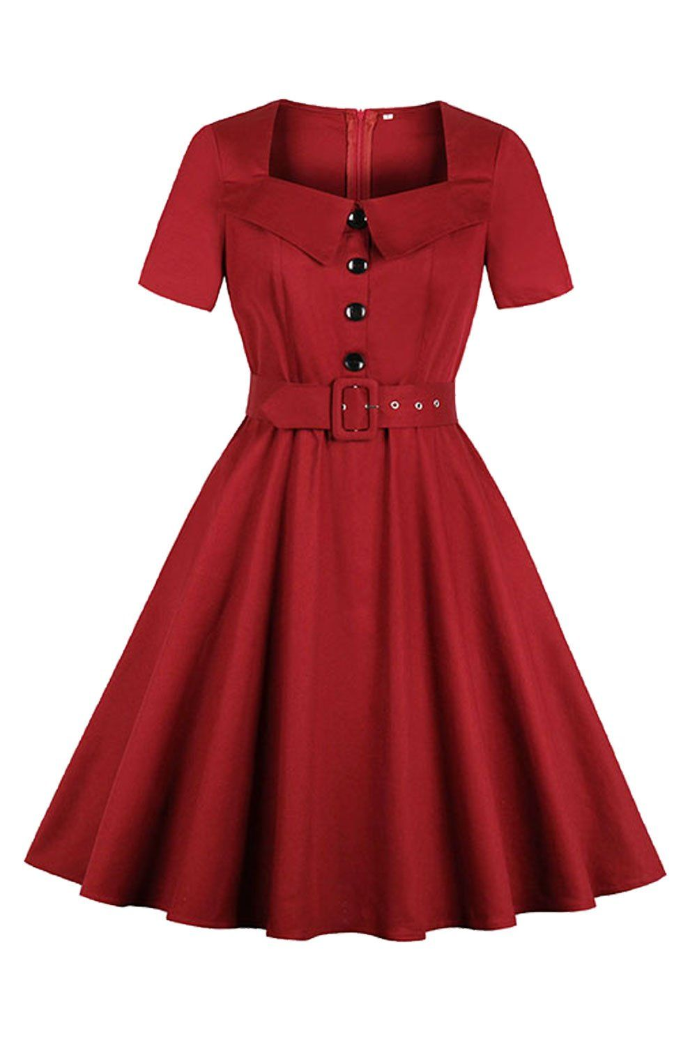 Atomic Vintage Wine Red Dress With Belt In 2020 Vintage Dresses 1940s Vintage Dresses Wine Red Dress