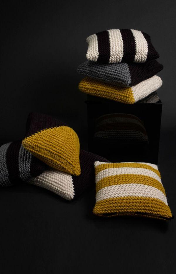 Kissen Bodenkissen-Textilwaren gestreift gestrickt Ideen aus Wolle ...