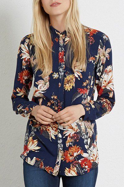 Vintage Multicolored Flower Print Long Sleeve Shirt For Women Fashion Floral Long Sleeve Shirt Style
