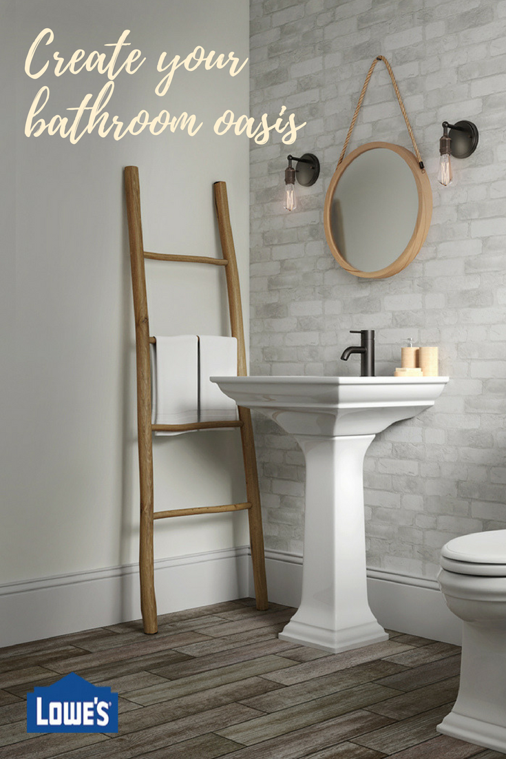 If You Prefer A Clean And Rustic Look This Bathroom Fits The Bill This Masculine Mix Features White Brick Wallpaper Modern Bathroom Design Bathrooms Remodel