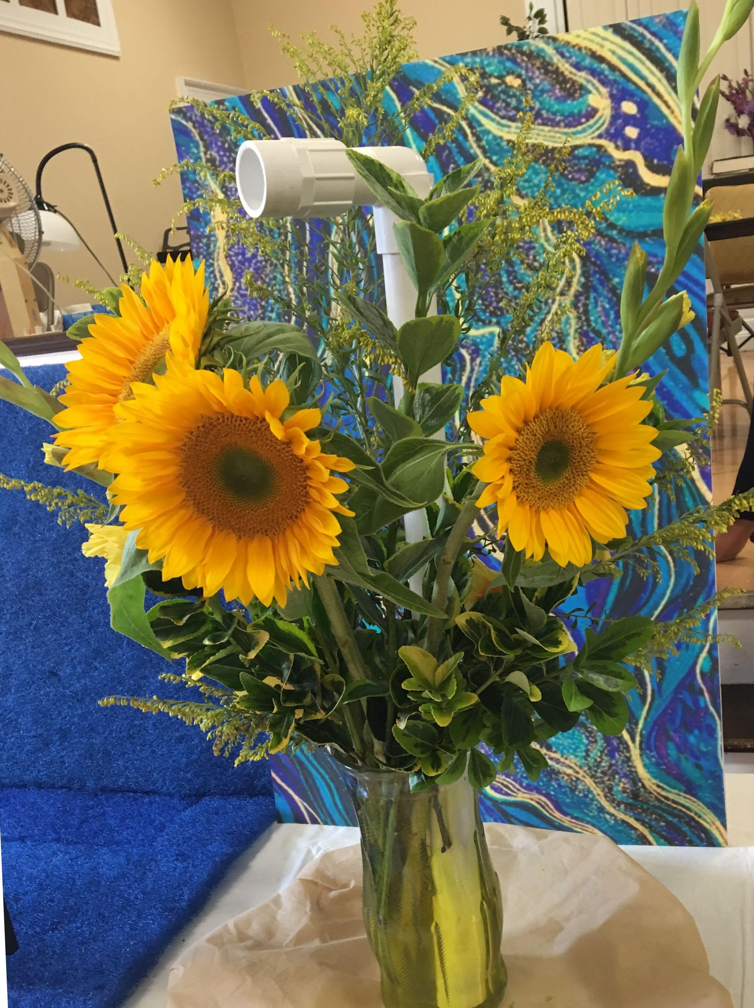 Flower Arrangement For Garden Show With Yellow Submarine Theme