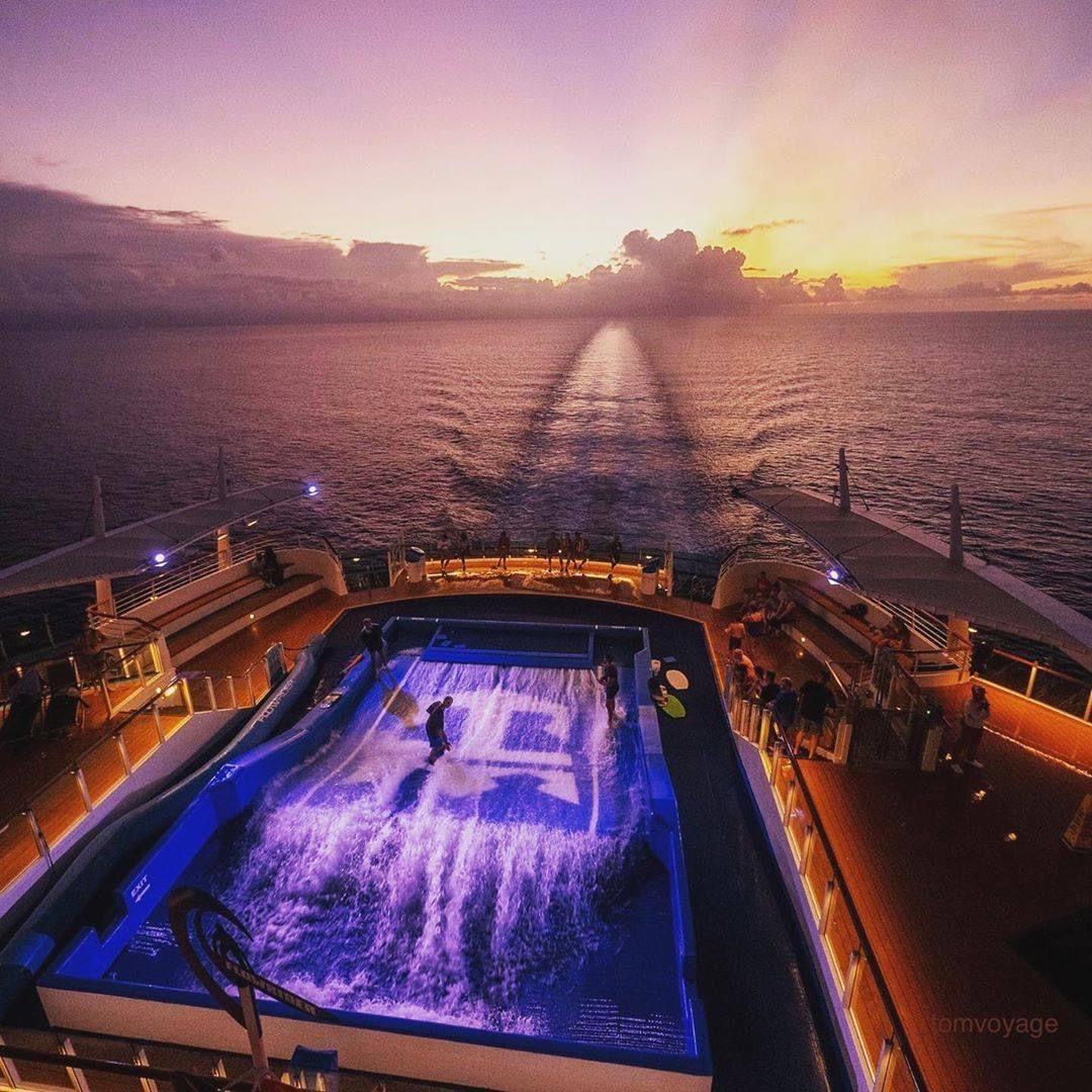 Next level surfing into the sunset 🌅 #RoyalCaribbean #HolidayInFullColour #ComeSeek