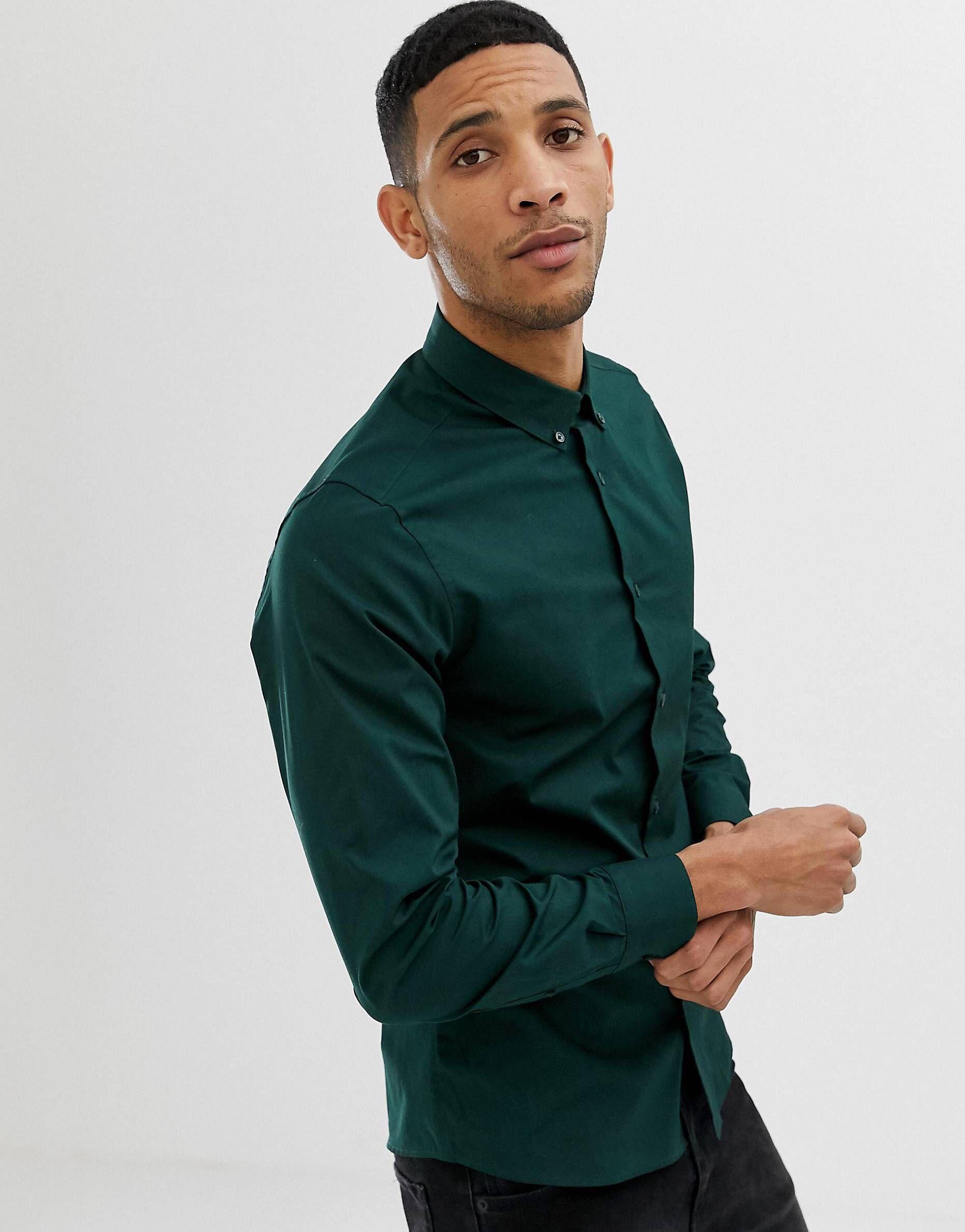 Vska Mens Plus Size Fitted Mix Color Button-Collar Long Shirt