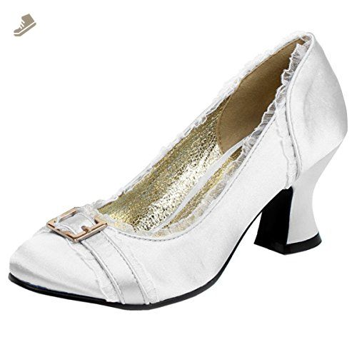 f9c928bd893 Womens Chunky Heel Pumps Satin Shoes Round Toe Blue Ivory Pink 2 1/2 ...