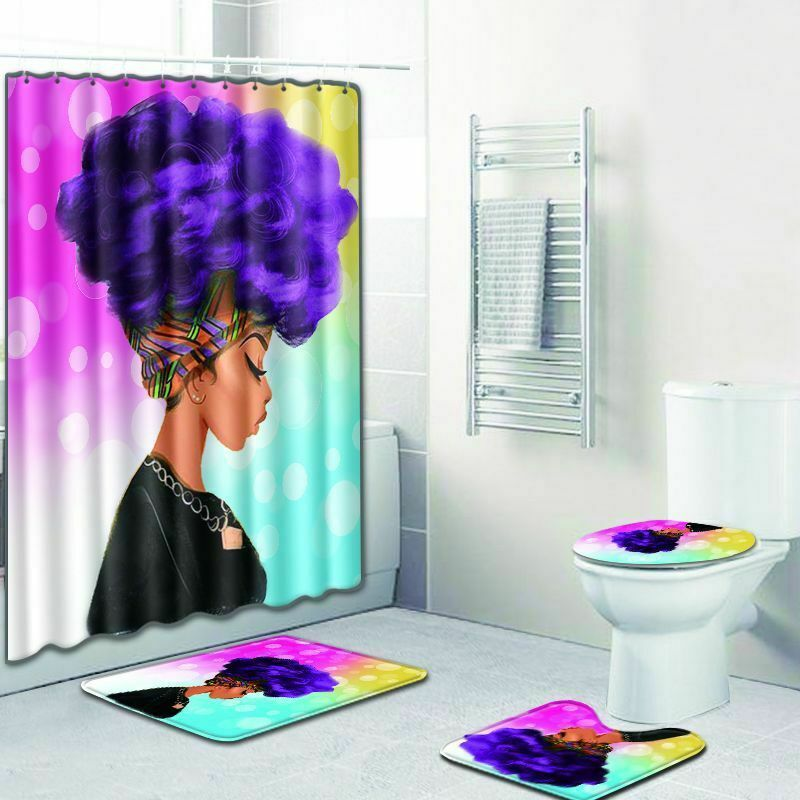 African Queen Bathroom Fashion Shower Curtain Toilet Seat Cover Rug Set Ebay Shower Curtain Decor