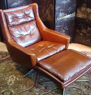 John Stuart Leather Lounge Chair Ottoman Mid Century Modern Vintage And Chairs