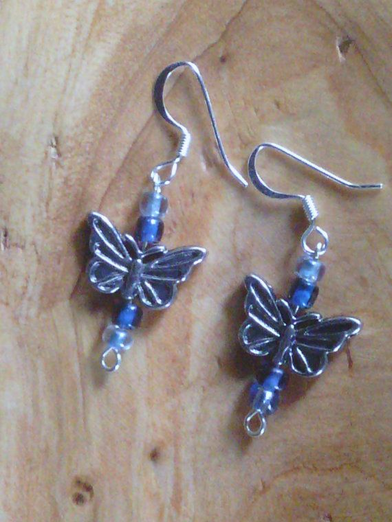 Blue Butterfly Earrings by PixieMoonCreations on Etsy, $10.00