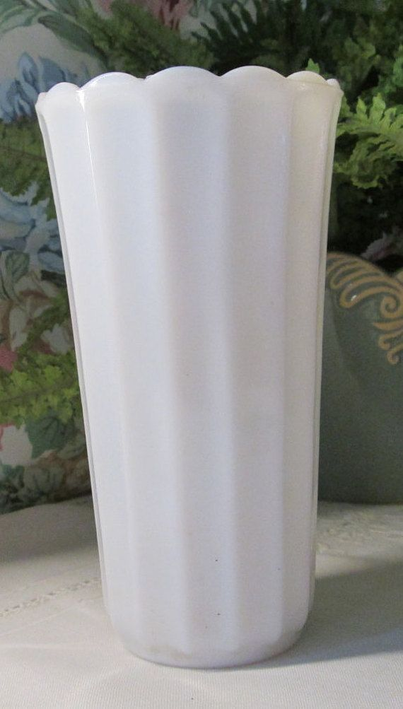 Milk Glass Vase Tall Bridal White Vase Flared By Treasurestimeworn