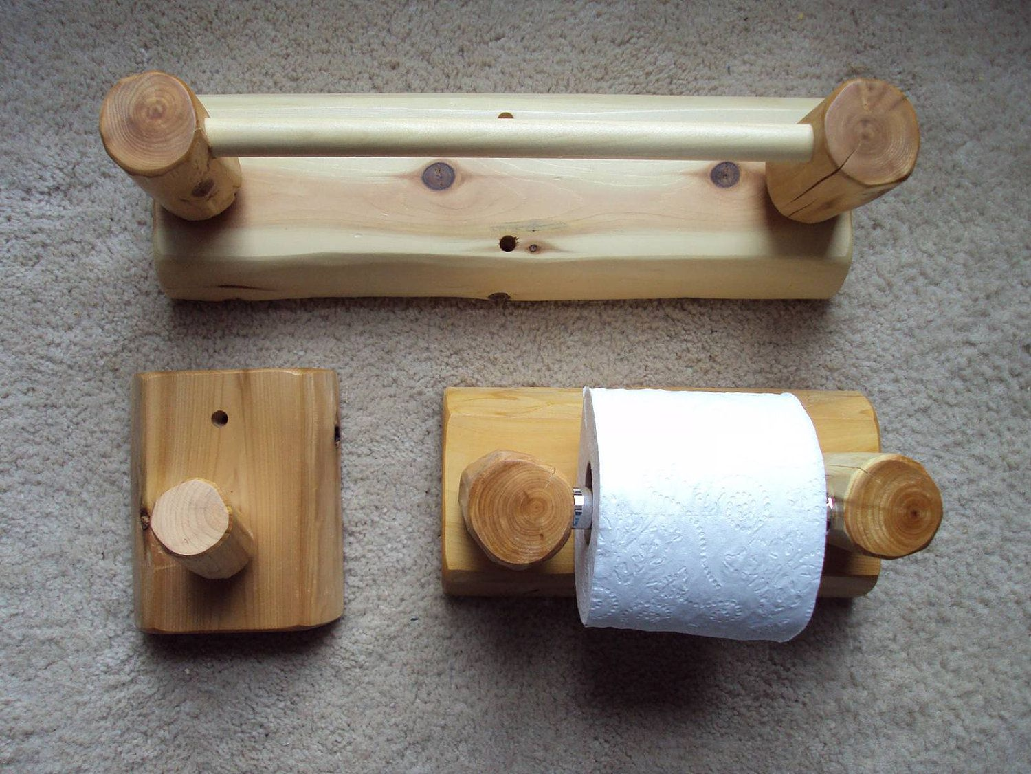 Rustic Bathroom Set Towel Bar Toilet Paper Holder Towel Rack - Bathroom towel bars and toilet paper holders for bathroom decor ideas