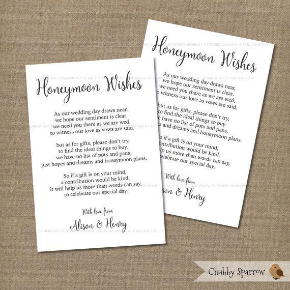 Wedding Gifts List Card Information, Honeymoon Fund, 4x6