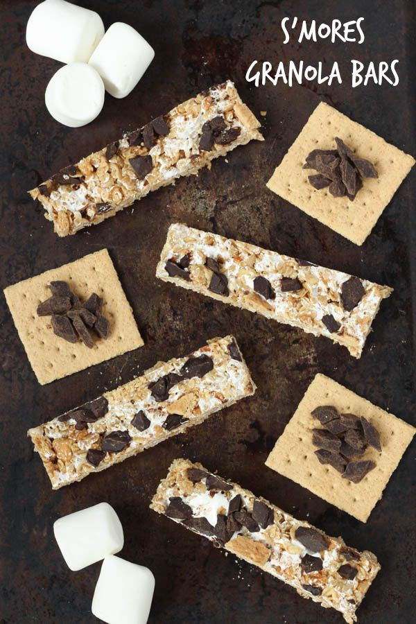 No-bake S'mores Granola Bars - s'mores granola bars are a sweet and crunchy snack based on your favorite campfire treat! These no-bake bars will make the  entire family happy @spoonfulflavor