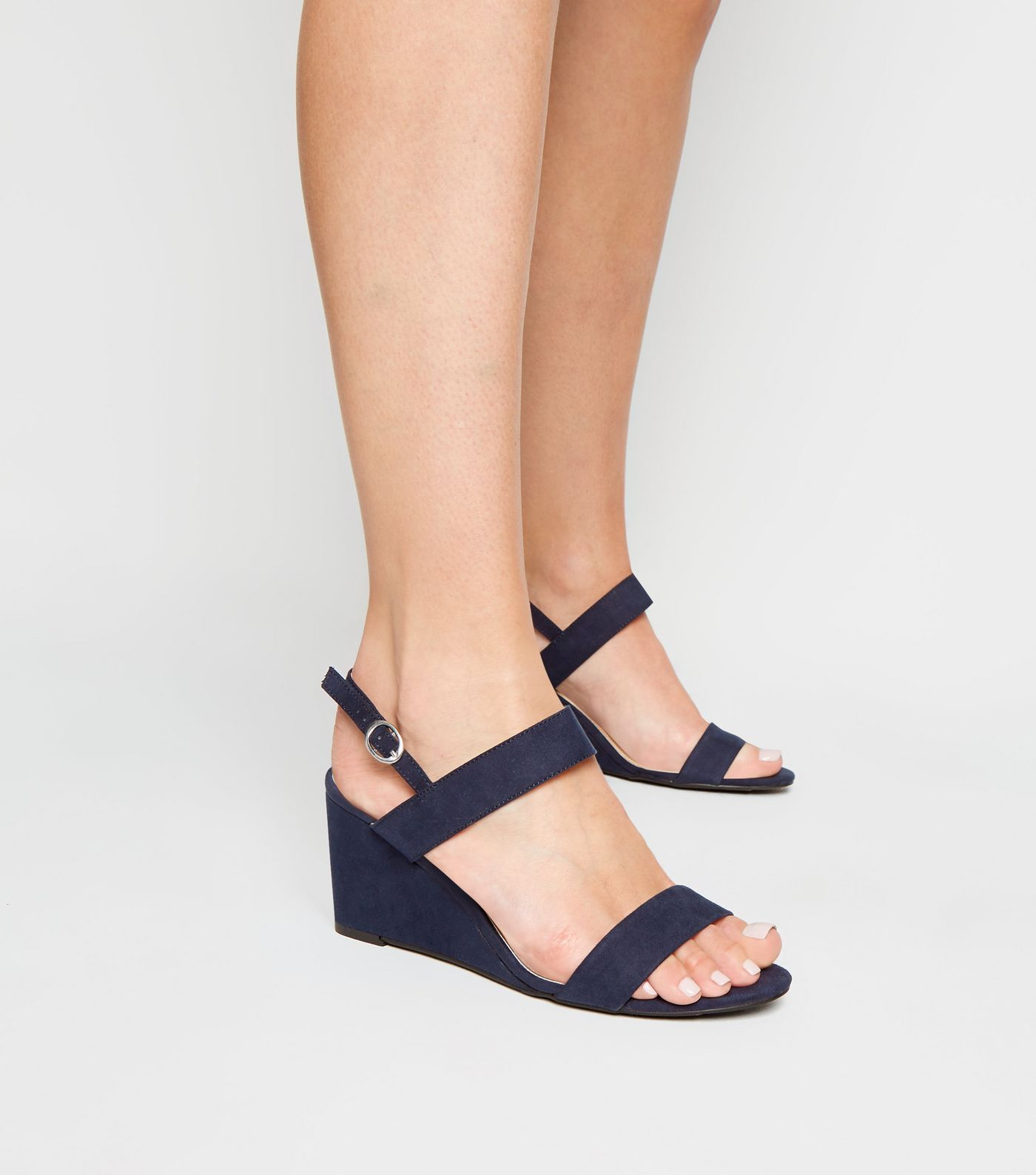 cb527f6fe1b Wide Fit Navy Suedette Wedge Sandals in 2019 | Footware | Navy wedge ...