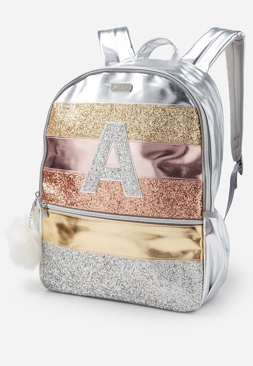 Glitter Stripe Initial Backpack Justice (With images
