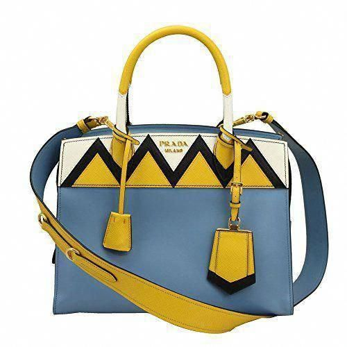 de4a324a2ed940 SALE PRICE - $2350 - Prada Blue Leather Tote Bag With Shoulder Strap 1ba046  Astral+