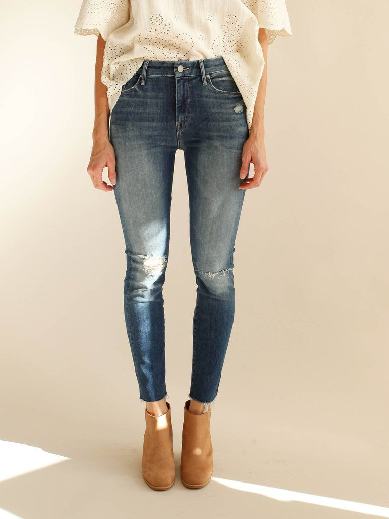 d1bed90a77cf Mother Denim - High Waisted Looker Ankle Fray - Furiously Happy ...