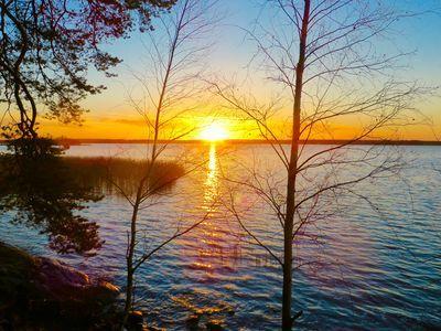 December sunset in Vaasa, Finland