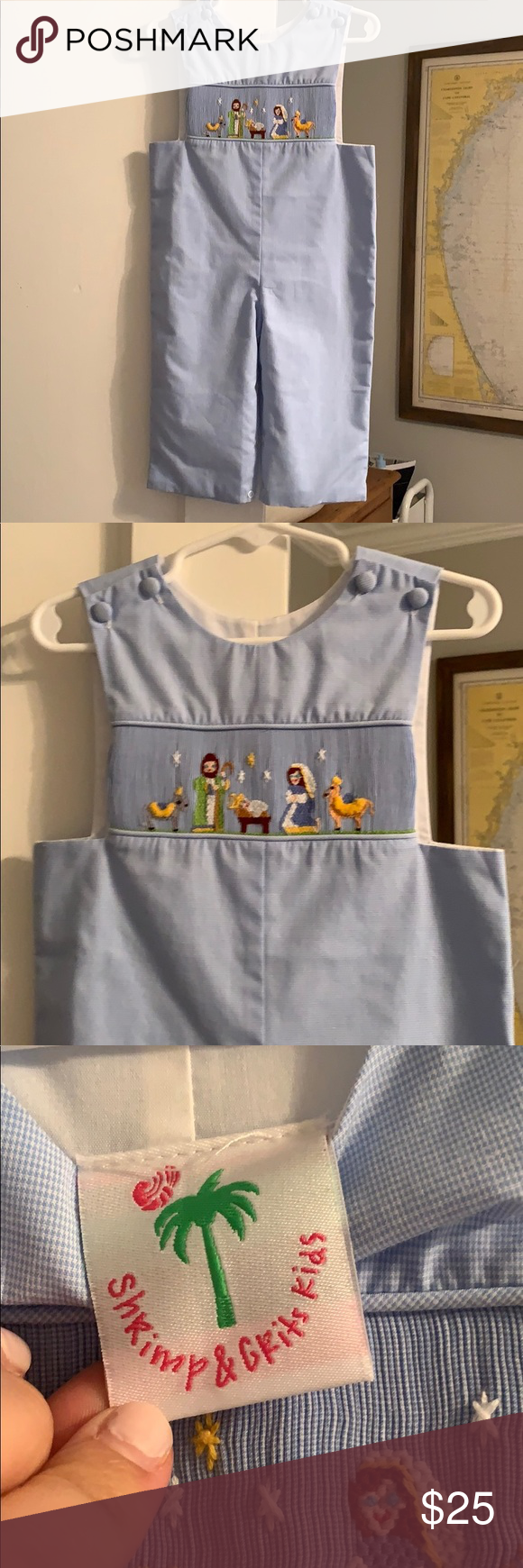 Shrimp and Grits Kids Longall Long romper longall, light blue, smocked Nativity Scene. EUC. By Sheimp and Grits Kids. Shrimp and Grits Bottoms Overalls #shrimpandgrits Shrimp and Grits Kids Longall Long romper longall, light blue, smocked Nativity Scene. EUC. By Sheimp and Grits Kids. Shrimp and Grits Bottoms Overalls #shrimpandgrits
