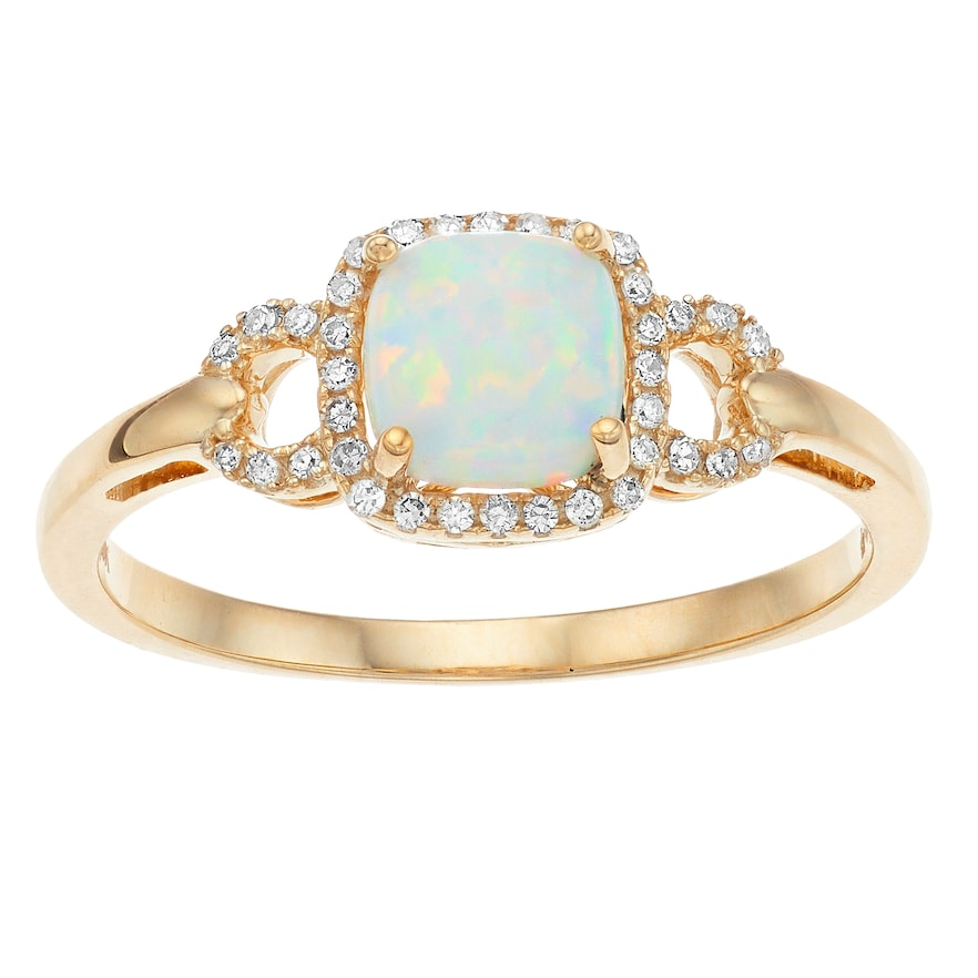 10k Yellow Gold Opal 1 10 Carat T W Diamond Ring Diamond Fashion Rings Gold