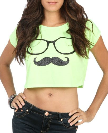 Nerdy Stache Crop Tee - Teen Clothing by Wet Seal