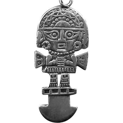 Sterling Silver Inca or Mayan God Charm, Key Ring, or Pendant | Symbol  necklace, Silver, Inca