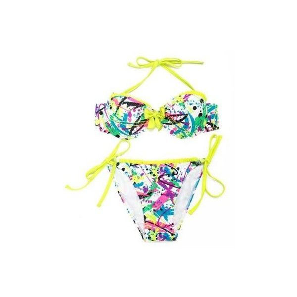 Women Sexy Doodle Printing Bikini Sets Ruffle Bathing Suit Swimwear ($28) ❤ liked on Polyvore featuring swimwear, bikinis, white, white halter top, sexy bikini, bikini swimsuit, halter swimsuit and white bikini