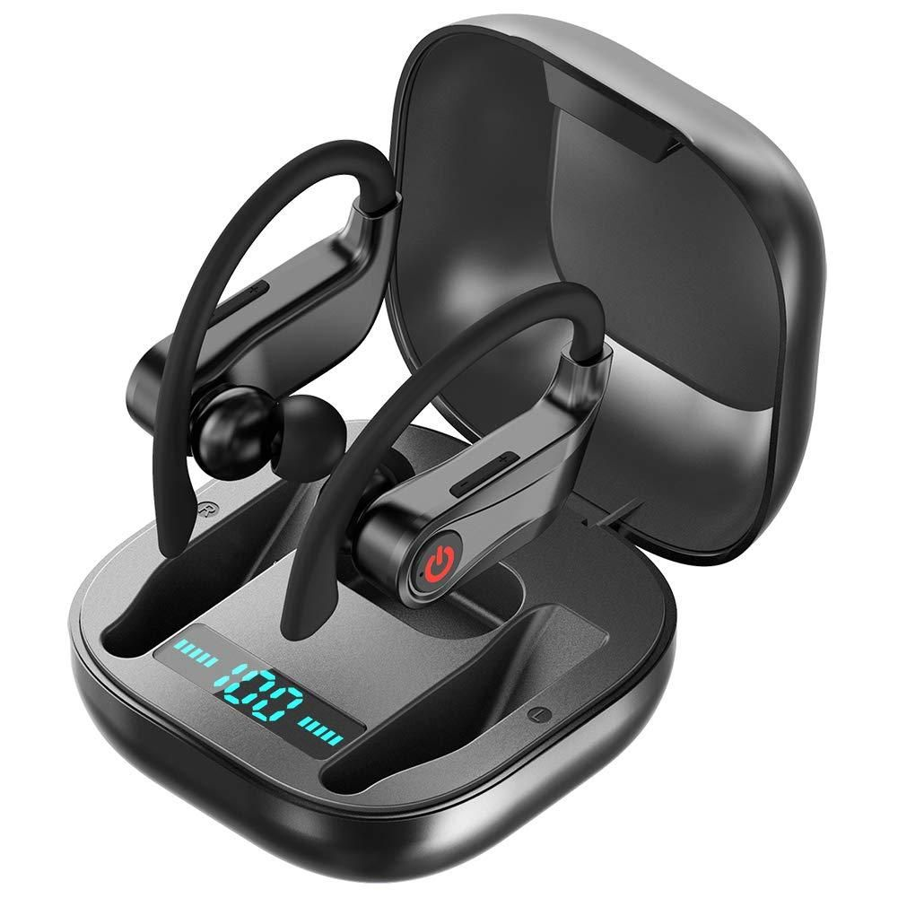 Wireless Earbuds Bluetooth Headphones True Wireless In Ear Sports Earphones With Microphone Mini Stereo Running Headset With Earhooks Charging Case For Iphone Sport Earphones Wireless Earbuds Bluetooth Headphones