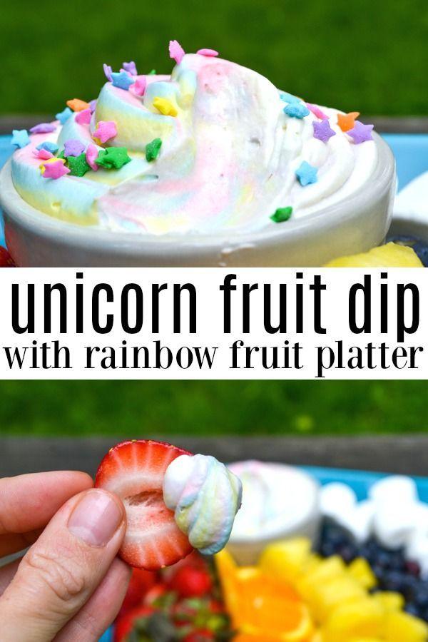 Unicorn Fruit Dip and Rainbow Fruit Platter - Morgan Manages Mommyhood
